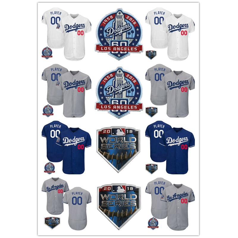 Custom Mens Los Angeles 2018 World Series and 60th Anniversary Dodgers Cody  Bellinger Clayton Kershaw Enrique Hernandez Baseball Jerseys