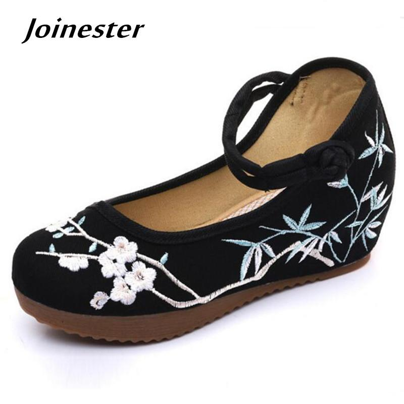Designer Dress Shoes Ladies Summer 2019 Canvas Mary Jane Wedge Women Pumps  With Platform Floral Embroider Ethnic Retro Party Bridal Shoe Clogs For  Women ... 15d65854c142