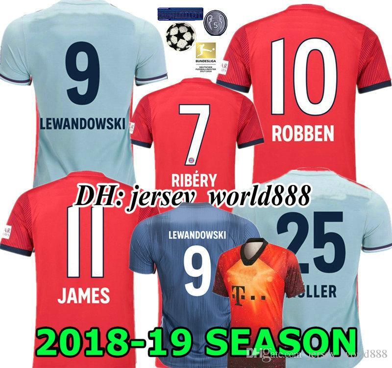 ce80a330315d99 Acquista LEWANDOWSKI 18 19 JAMES RIBERY ROBBEN Red Home Maglia Da Calcio  HUMMELS NEUER VIDAL MULLER BOATENG Maglietta Da Uomo MAN Away Football  DONNA THIAGO ...