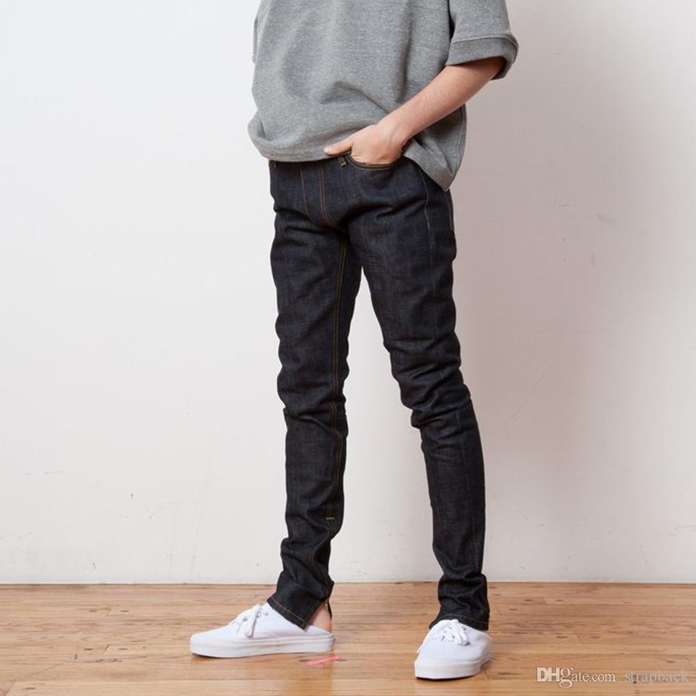 22f5e0c2ab2 Strapback mens raw denim cotton skinny jeans zippered ankle cuffs jpg  1000x1000 Raw denim men