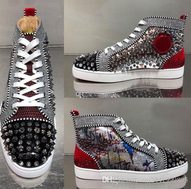 0ed55485f42 2019 New Design Brand Rivets Casual Shoes For Men and Womens,Designer  Couple Red Bottom Sneakers High Top Studded Males Women Flat Shoes 46