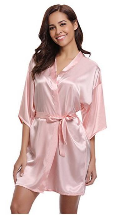7772acd30b9 2019 Women Silk Satin Short Night Robe Solid Kimono Robe Fashion Bath Sexy  Bathrobe Peignoir Femme Wedding Bride Bridesmaid From Zhongni