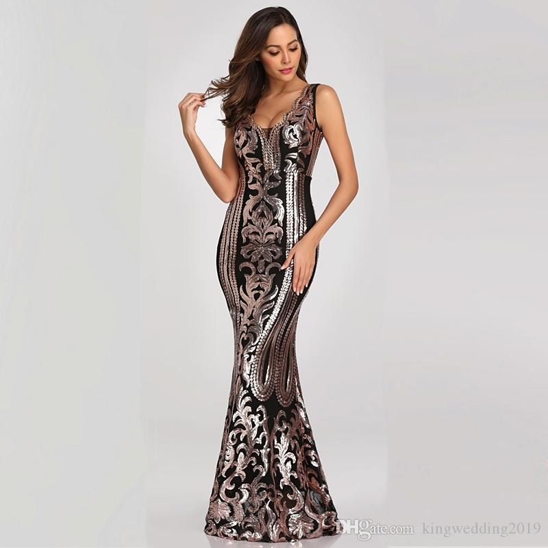 39a76a8830453 V-neck Beading Long Evening Dress Sexy Gold Sequin Formal Party Dress Prom  Gowns Long Elegant Evening Dress