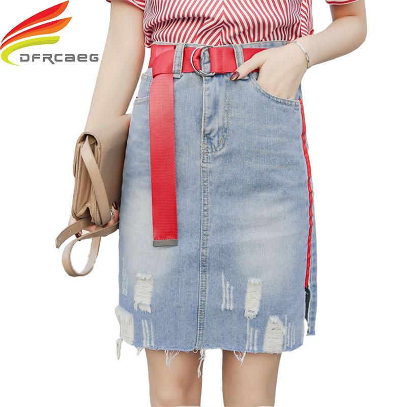 aab4cf4e1a88 2019 Streetwear High Waist Denim Skirts Blue A Line Skirt Women Free Belt  Spring Summer Jeans Skirt Midi Hole Cool Denim Women From Sogga, $22.73 |  DHgate.