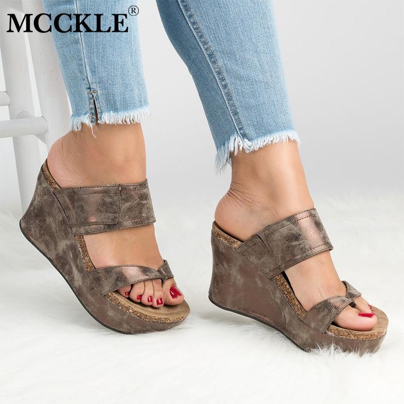 1eaef047 Compre MCCKLE Tallas Grandes Cuña Mujer Zapatillas De Verano Chanclas Tacones  Altos Plataforma Damas Casual Zuecos Exteriores Zapatos Calzado Para Mujer  A ...