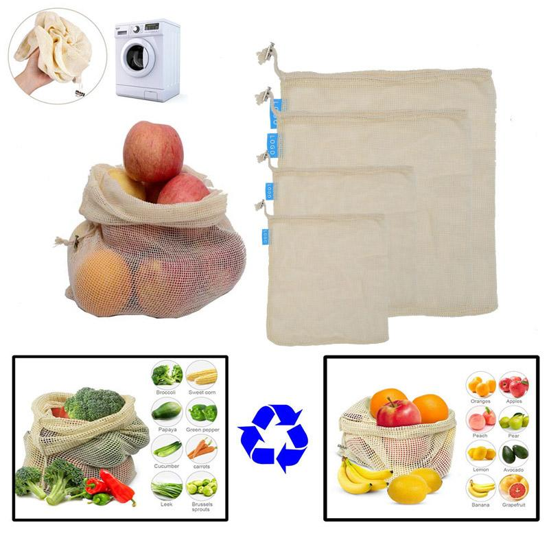 Reusable Cotton Mesh Grocery Shopping Produce Bags Vegetable Fruit Bags Hand Totes Resable Home Storage Pouch Drawstring Bag HH7-1925