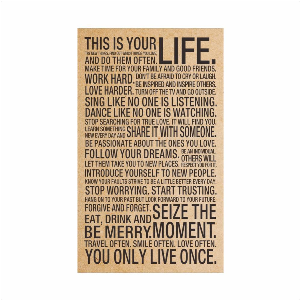 Wholesale- HOT World Popular Quote This Is Your Life Vintage Painting Inspiration Words Kraft Paper Posters Wall Stickers Home Decor Art