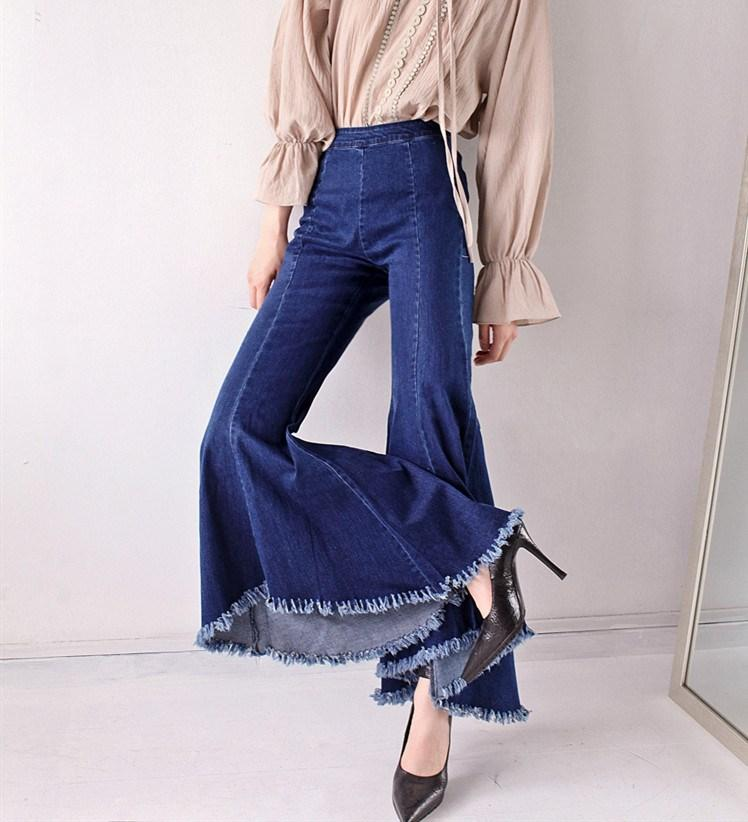 27bac0c6a 2019 2019 New Fashion Wide Leg Jeans Flare Pants Casual Loose Denim Pants  Women Mid Waist Fringe Jeans From Sheju, $42.5 | DHgate.Com