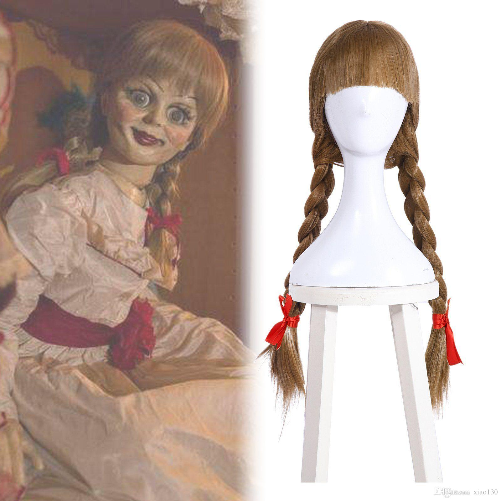 The Conjuring Annabelle Doll Cosplay Wig 2 Braided Brown Long Hair Halloween