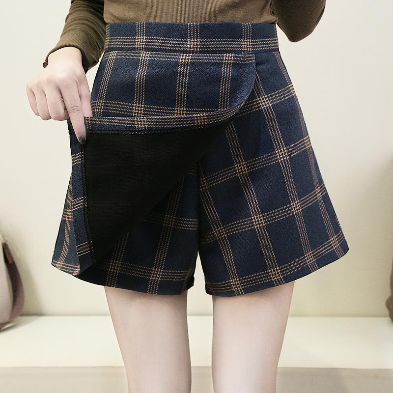 b113471e8 2019 Primavera Mujeres A-Line Falda A Cuadros Botón de Cintura Alta Lana  Vintage Faldas Mujer Casual Falda Coreana Niñas Shorts de Moda