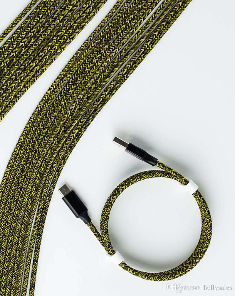 كبل USB 1M 3FT 2M 6FT 3M 10ft جديلة القرداء مايكرو USB الحبل 2.4A بيانات سريعة مزامنة نوع ج شحن خطوط شحن للهاتف X Huawei P30 LG الروبوت