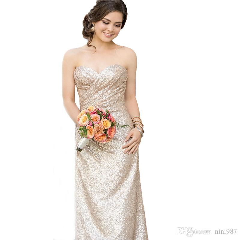 Sweetheart Strapless Rose Gold Sequin Bridesmaid Dresses 2017 A Line Sheath Dresses For Women Cheap Long Floor Length Wedding Guest dress