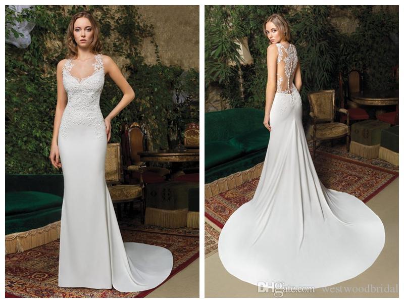 8cc3bfad7520 2019 Wedding Dresses Robe De Mariée Demetrios 7979 Ivory Chiffon Mermaid  Wedding Dress Buttons Applique Court Train Custom Made Pink Wedding Dress  Princess ...