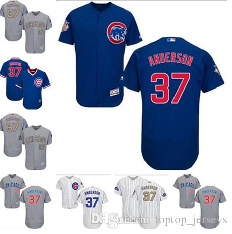 low priced 20aad 4c4a5 2019 Chicago custom Men's women youth Majestic Cubs Jersey #37 Brett  Anderson Home Blue White Gold Kids Girls champions Baseball Jerseys