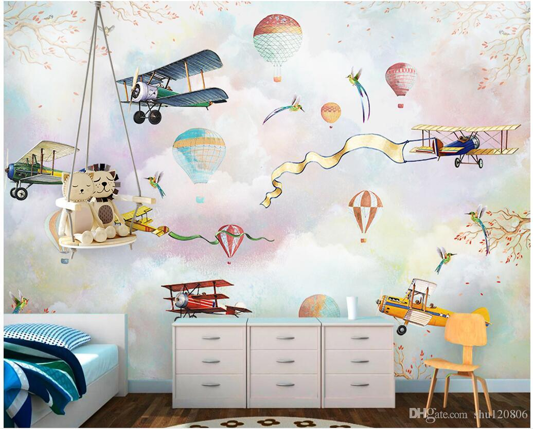 3d photo wallpaper on the wall custom mural Cartoon airplane hot air balloon wall papers Home decor living Room wallpaper for walls 3 d