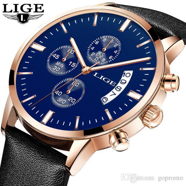 a6a46213b1d Compre LIGE Mens Relógios Top Marca De Moda De Luxo Esporte Casual Relógio  De Quartzo À Prova D  Água Homens Pulseira De Couro Genuíno Relogio  Masculino De ...