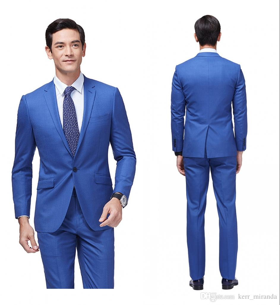 The Best Man Wedding 2020 2019 2020 Newest Slim Fit Groom Tuxedos Royal Blue Best Man Suit