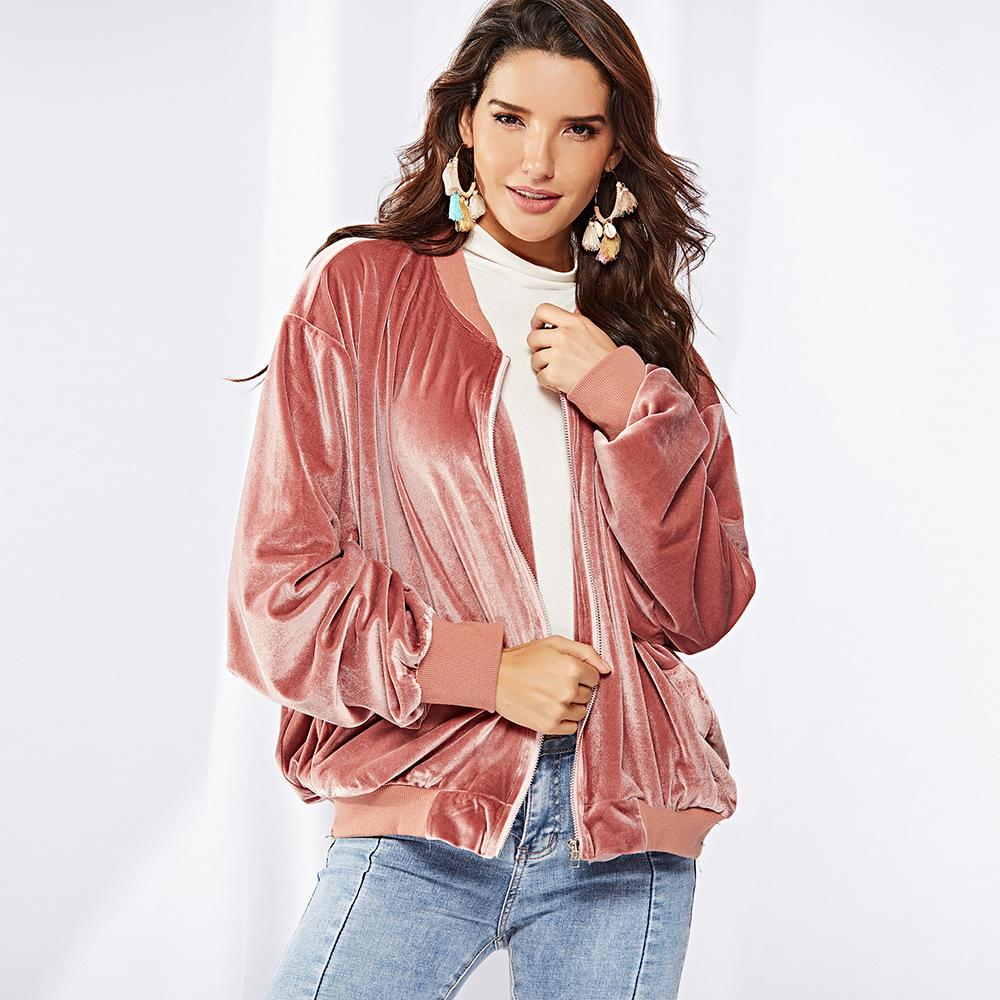 7a847b19d15 2018 Autumn And Winter New Long Sleeved Batwing Sleeve Pink Velvet  Cardigans Coat Women Coat Collar Round Casual Jacket For Women Wholesale  Suede Jackets ...