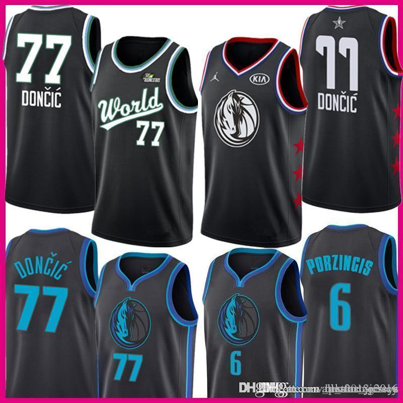 buy online 937a7 3003d Mens 2019 new Luka 77 Doncic Dallas # Mavericks Jersey Kristaps 6 Porzingis  The City ice Rismg Stars Basketball Jerseys
