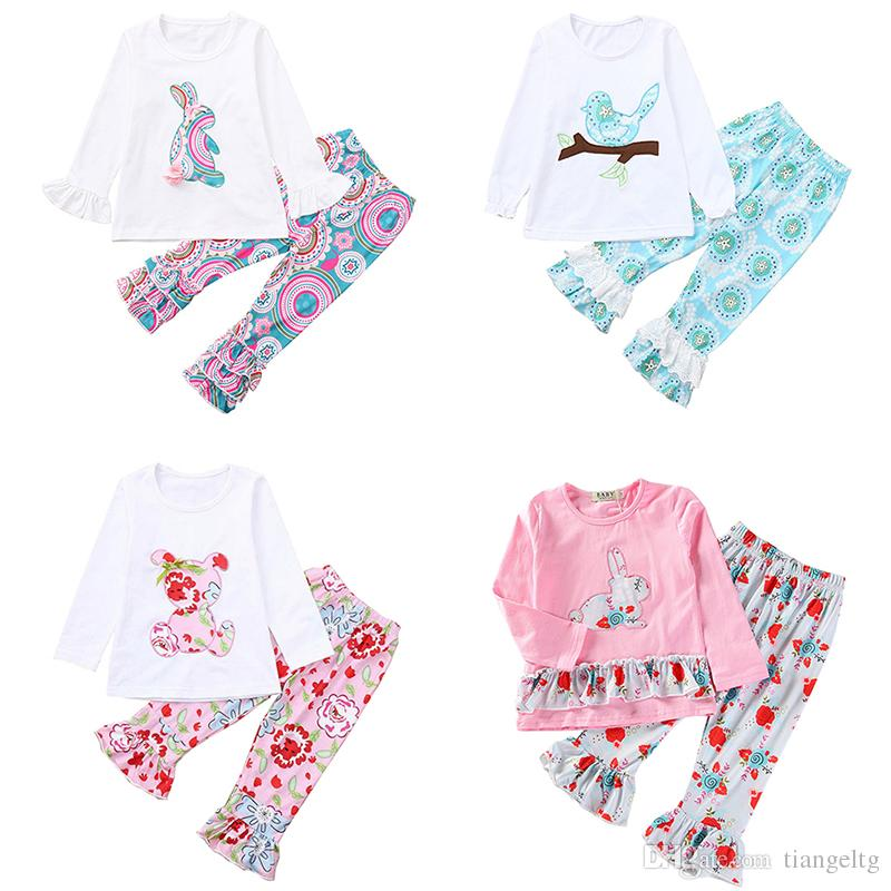 58111043fb5 2019 Kids Easter Girls Outfits Baby Designer Clothes Appliqued Bunny Floral  Birds Bear Printed Ruffle Long Sleeve Tops Pants Clothing Sets 2 6T From ...