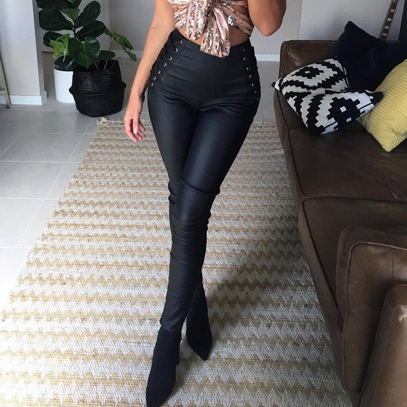 3aed49579920 Pantalones de lápiz con cremallera lateral de encaje hacia arriba para  mujer Leggings de lana de cintura alta elásticos Otoño Invierno Pu cuero ...