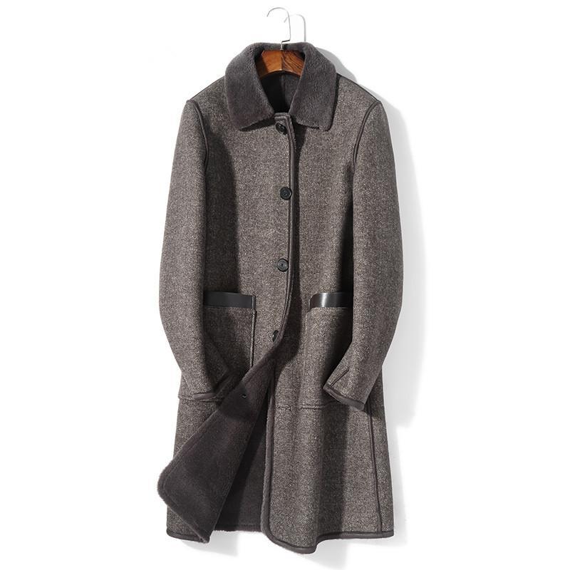 b7833b7caf3 2019 Real Sheep Shearling Fur Coat Winter Jacket Men 100% Wool Fur Liner  Woolen Long Coats Warm Jackets Plus Size Erkek Mont MY1753 From Qackwang