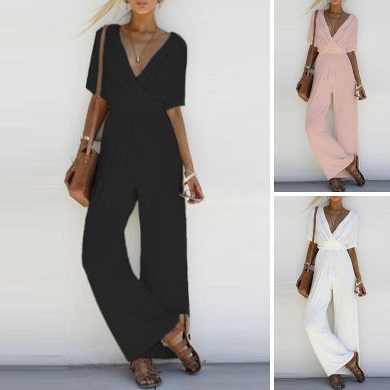 8c22a4751c47 Streetwear 2019 Canis Long Black Rompers Jumpsuit para mujer Summer Slim  V-neck Embellecido Puños Malla Romper Loose Club Pants