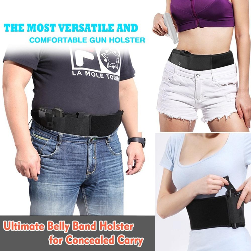 Tactical Belly Band Holster Concealed Carry Pistol Gun Pouch Waist Bag  Invisible Elastic Girdle Belt for Outdoor Sports Hunting
