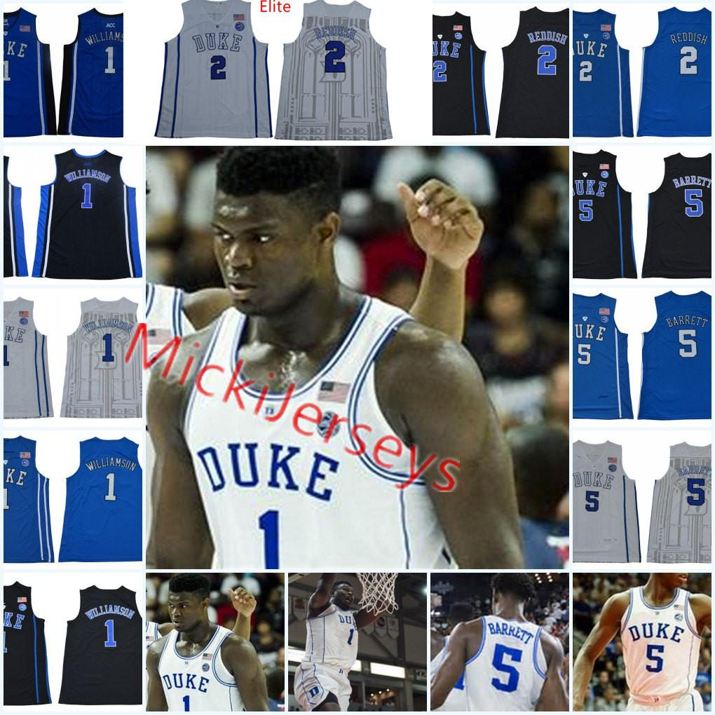 87f63ddca70b 2019 Mens NCAA Duke Blue Devils R. J. Barrett Basketball Jersey Round Neck   5 RJ. Barrett  2 Cameron Reddish  1 Zion Williamson Duke Jerseys S 3X From  ...