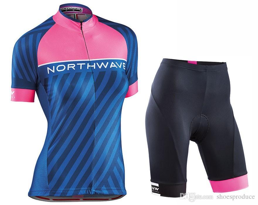 Women Northwave Short Sleeves Cycling Jersey Bib Short Set Summer ... 4a268efcc