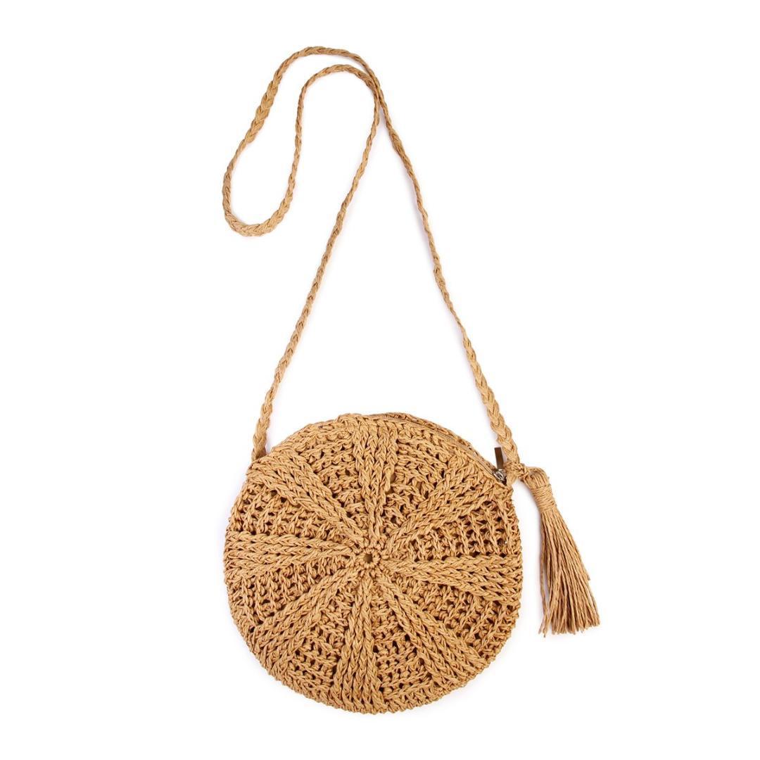 5c9270fcf Compre ABDB Rattan Crochet Paja Tejida Cesta Bali Bolso Redondo Círculo  Crossbody Shopper Beach Tote Bag A $38.55 Del Paradise12 | DHgate.Com