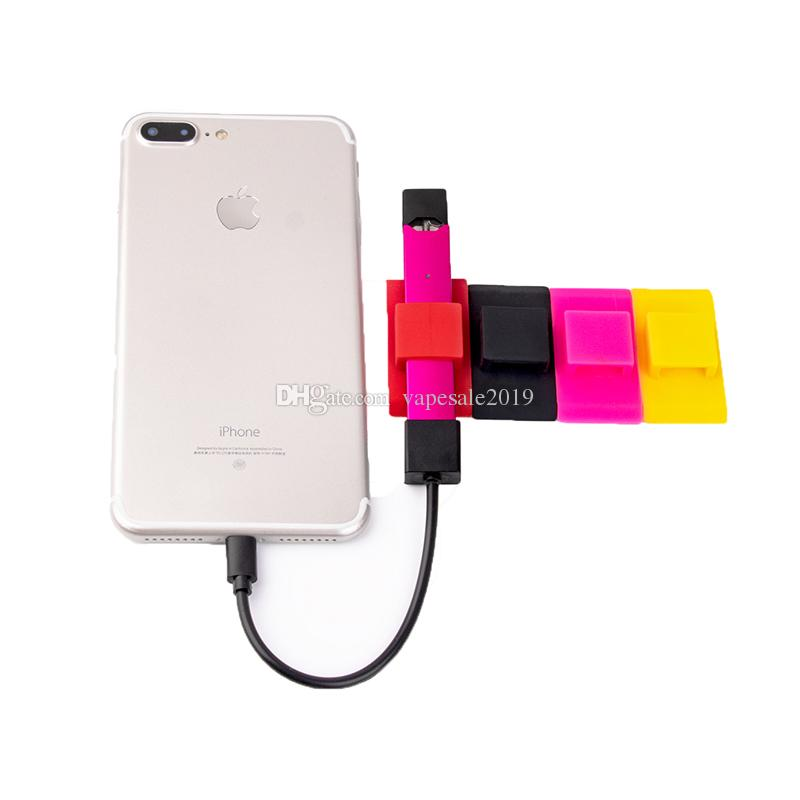 best service dd627 2fe85 JUUL Vape Pen 10 Colors Silicone Cell Cate Mobile Phone Back Sticker  Silicone Phone Holder Back Cases Vape Pen holder Free Shipping DHL