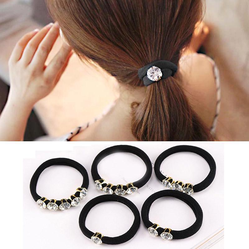 1d07c932e1e3 Корейский элегантные стразы женские аксессуары для волос простые черные ...
