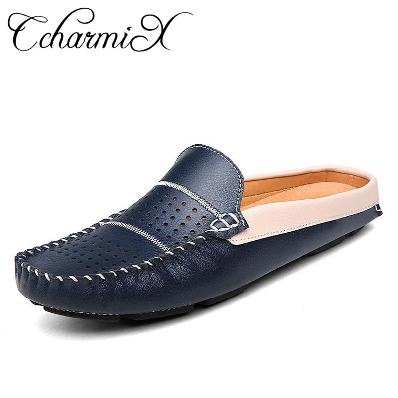 5a39299e1880a CcharmiX Genuine Leather Men Half Slippers Slip On Outdoor Mens Shoes Men  Soft Leather Slipper Man Driving Loafers Male Footwear Cheap Shoes For  Women Buy ...