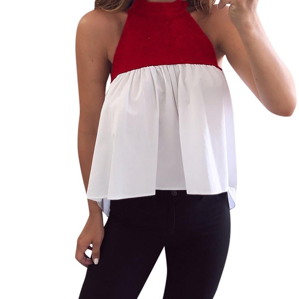 ca896857776e8a 2019 Summer 2019 Women Tank Top Streetwear Color Block Sleeveless Halter  Tops Woman Clothes Party Tops For Women Festival Top From Teapink