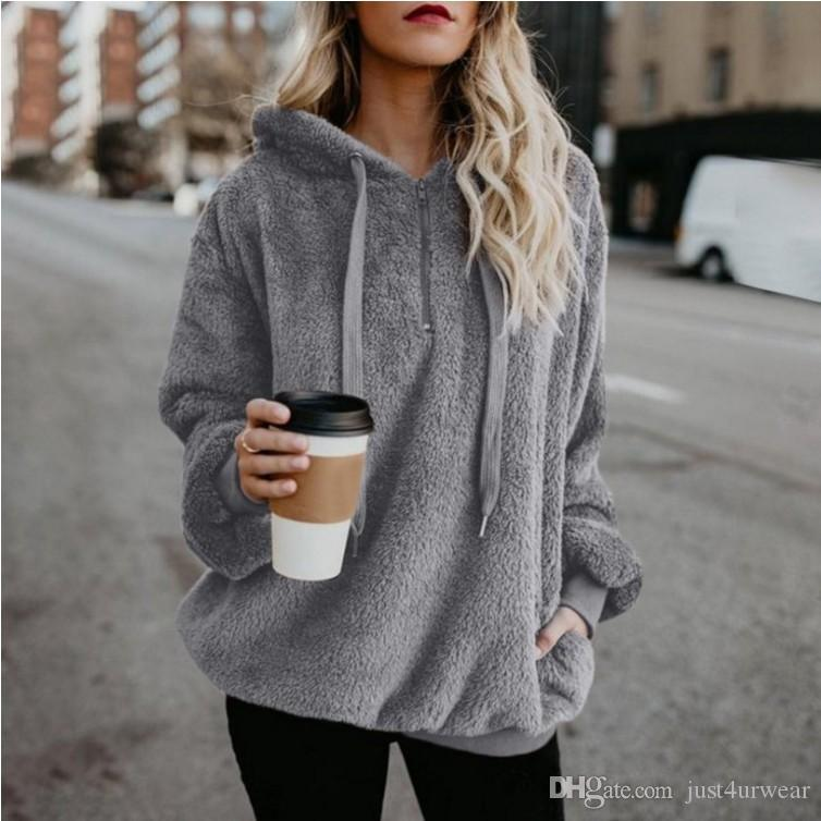 9923daacd1e 2019 Womens Soft Hooded Hoodies Cashmere Blend Pullover Sweatshirts Ladies  Winter Loose Hoodies Tops Plus Size S 5XL Women Clothing From Just4urwear