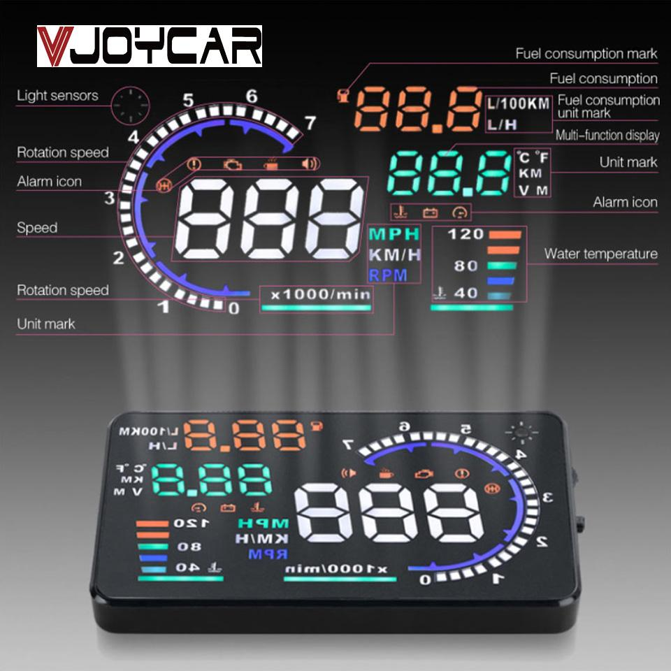 "Cheap Head-up 5.5"" A8 Car HUD Head Up Display And 4\"" D2000 OBD2 Display LED Windscreen OBD Scanner Over Speed Warning"