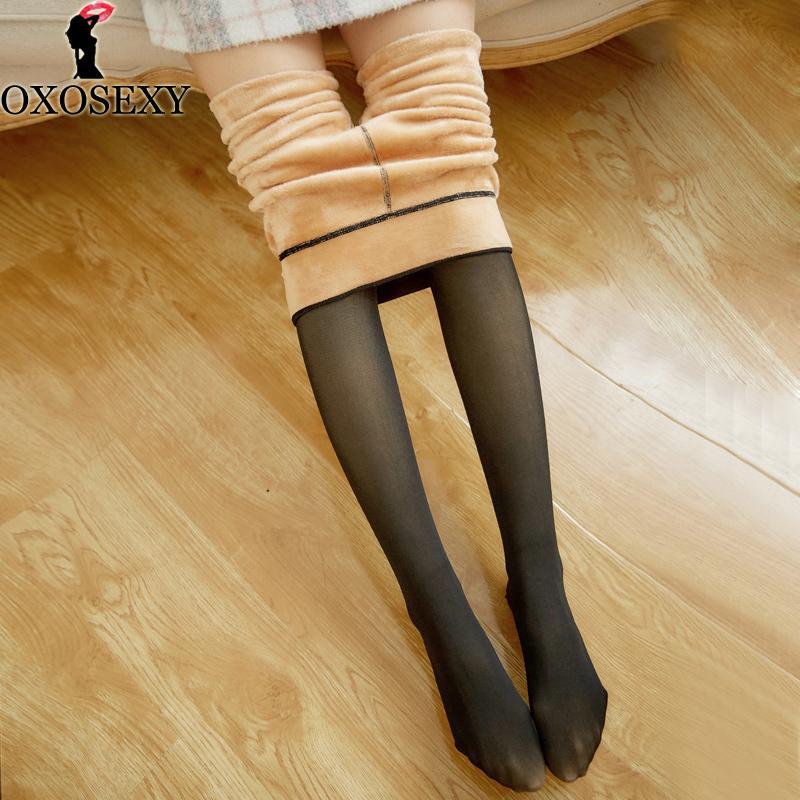 Acheter Noir Imitation Peau Femmes Collants D hiver Collants Transparent  Élastique Sexy Collants Chaud Épais Collants Pour Filles Bas 074 C18122201  De  10.8 ... 2530e25fb64