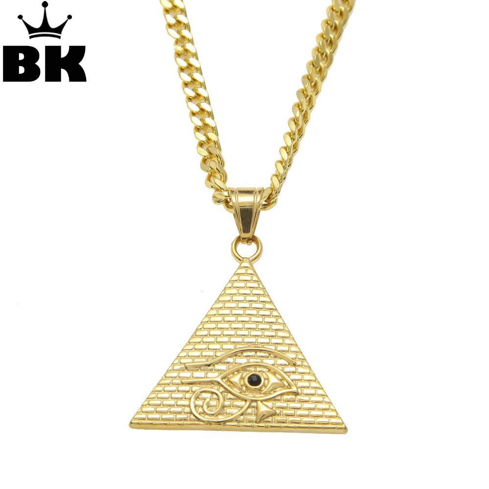 f1baf056af0e Pirámide egipcia antigua Collar Colgante Ojo de Horus Hip Hop Illuminati  Collar con cadena de bordillo cubano de Miami de 27.5 pulgadas