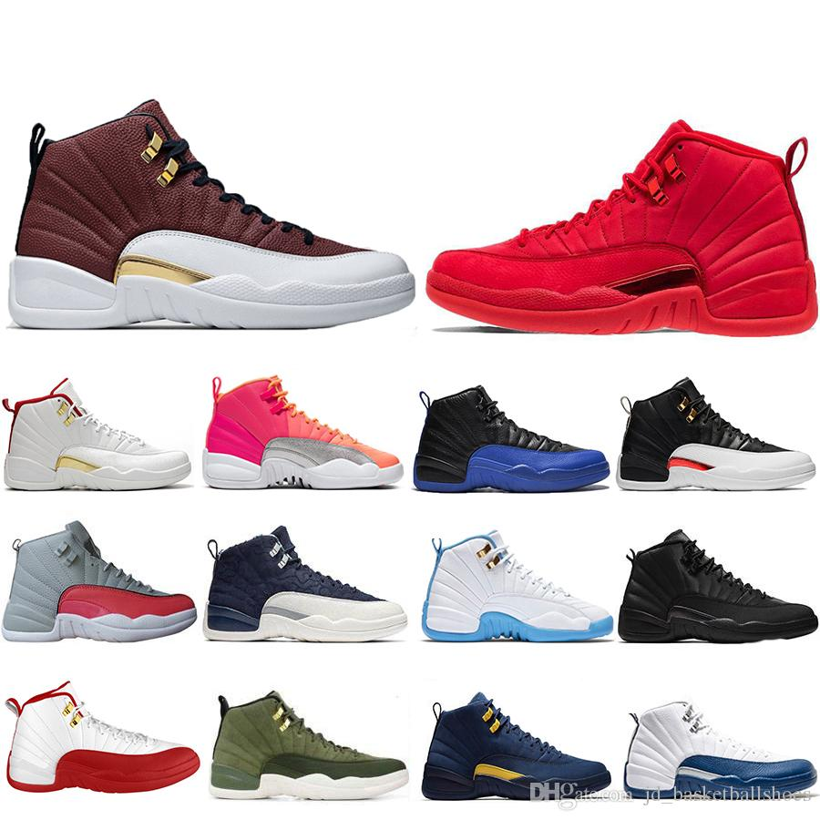 Newest 2020 GAME BALL Hot Punch 12 12s XII Mens Basketball shoes Reverse Taxi FIBA Flu Game Gym Red Sports Sneakers US 7-13