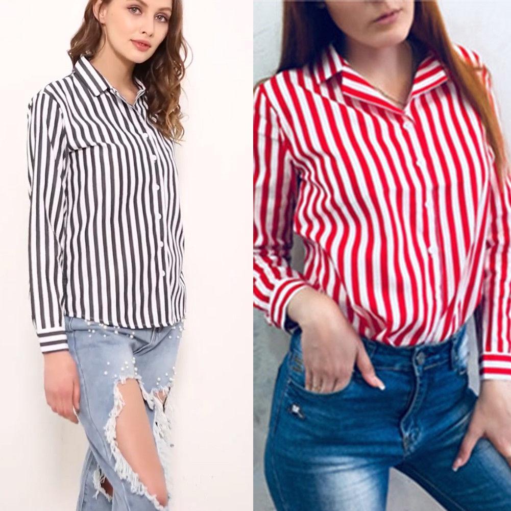 b757b2618b8 2019 Women Shirts Long Sleeve Striped Shirt Button Down Casual Loose Blouse  Tops Fashion Women Clothes Autumn From Linql01, $11.5   DHgate.Com