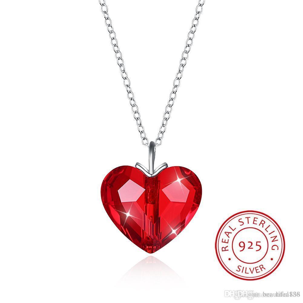 6069a48becb6 Compre Cristales De Swarovski Elemento Joyería Collar Colgante De Corazón  Collares De Moda S925 Sencilla Joyería Fina De Plata De Ley Para Amantes  Regalo A ...