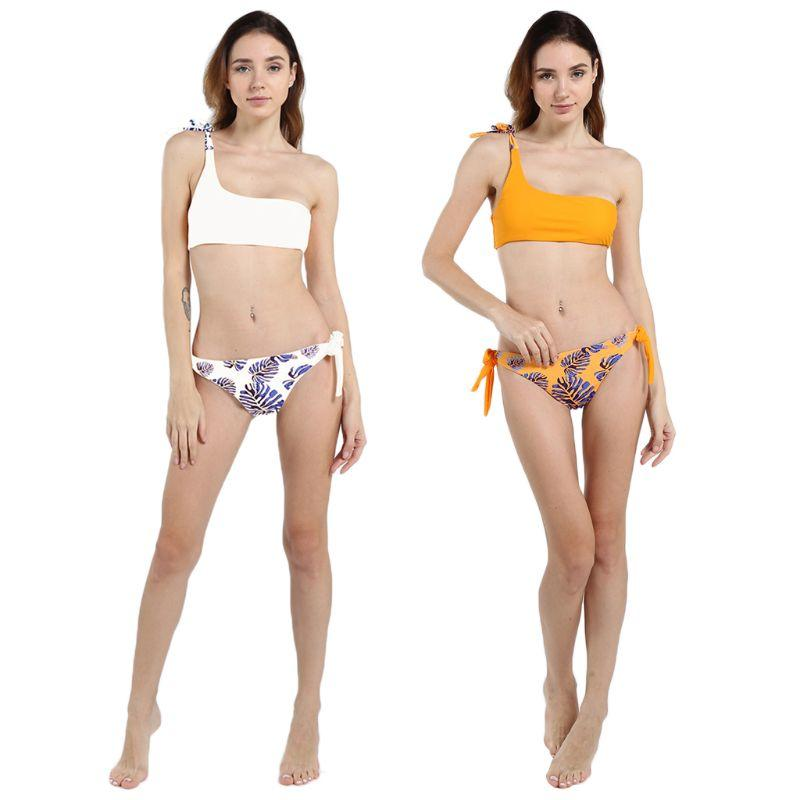 743eee483b 2019 Women Sexy Two Piece Set One Shoulder Lace Up Strap Bandeau Crop Top  Boho Tropical Leaves Printed Side Tie Swimsuit From Lookpack, $24.77 |  DHgate.Com
