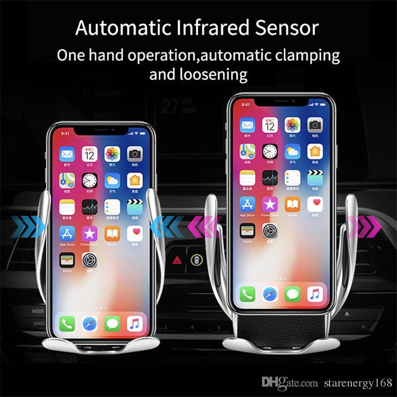 S5 Automatische Auto Ladehalter 10 Watt Schnelle Drahtlose Auto Ladegerät Smart Air Vent Auto Mount Handy Handyhalter für Samsung iPhone