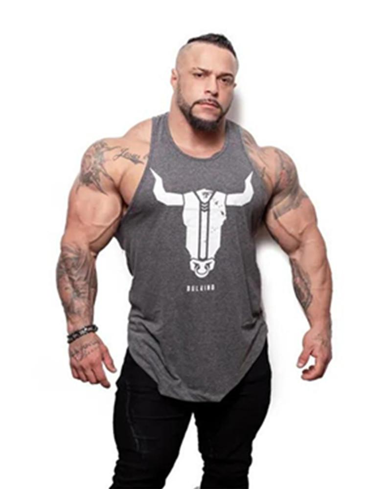 e1776971 2019 YEMEKE Bull Head Printing Clothing Bodybuilding Stringer Gyms Tank Top  Men Fitness Singlet Cotton Sleeveless Shirt Muscle Vest From Sheju, ...