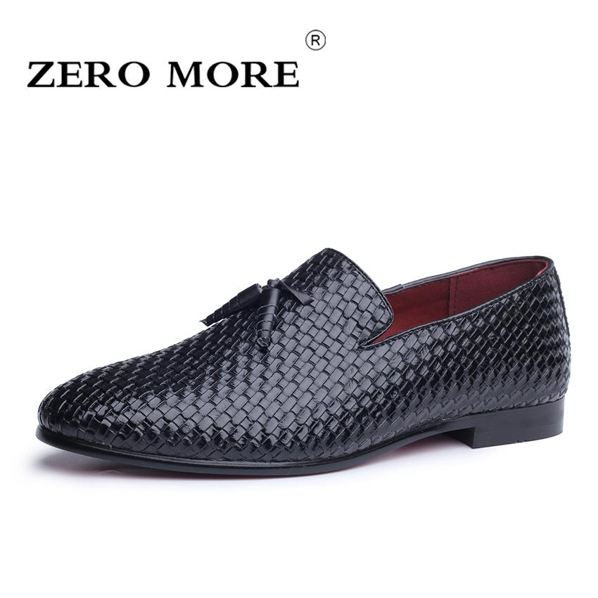 57bf9ff845678 ZERO MORE Mens Shoes Casual Large Sizes Fashion Woven Design Men Shoes Slip  On Tassel Fringe Black For Loafers Men Casual Spring