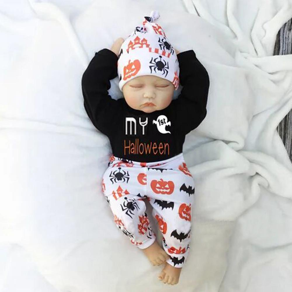 7f5092ad83336 good quality Infant Baby Clothing Set 3PCs Letter Print Romper Jumpsuit  Halloween Pants Outfits Set baby clothes ropa recien nacido
