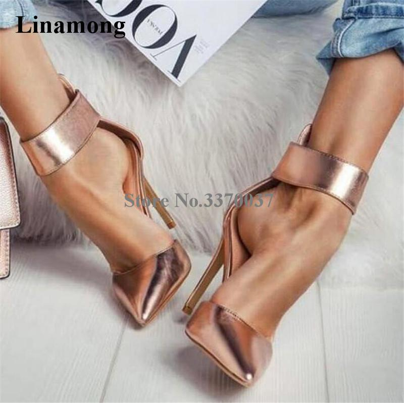 ba43a57a0b3 2019 Linamong New Fashion Women Pointed Toe Stiletto Thin Heel Pumps Ankle  Strap Buckle Gold Silver High Heels Formal Dress Shoes From Chuntianmei
