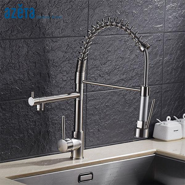 2019 Azeta Brushed Nickel Kitchen Faucet Dual Spray Spout Kitchen