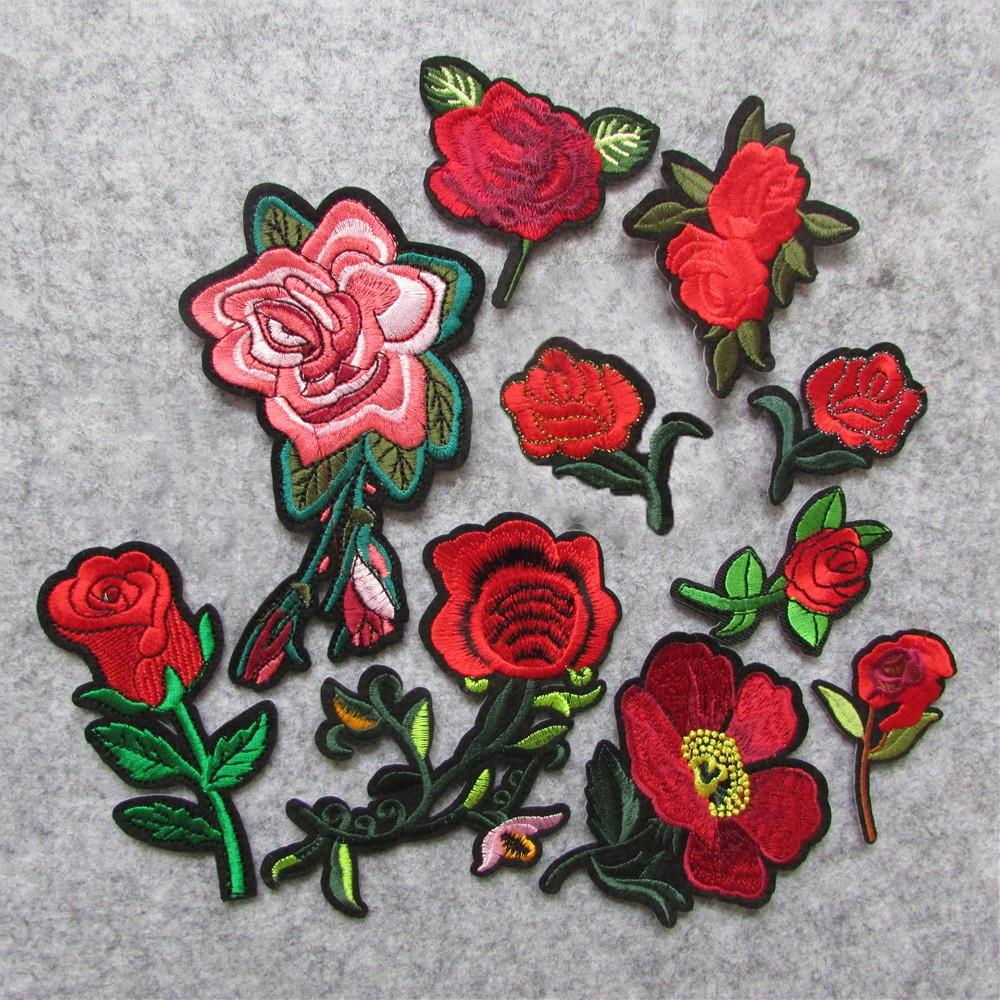 new arrive fashion Rose Flowers parch Embroidered Iron on Patches for Clothing DIY Motif Stripes Clothes Stickers Custom Badges